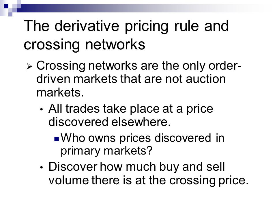 The derivative pricing rule and crossing networks