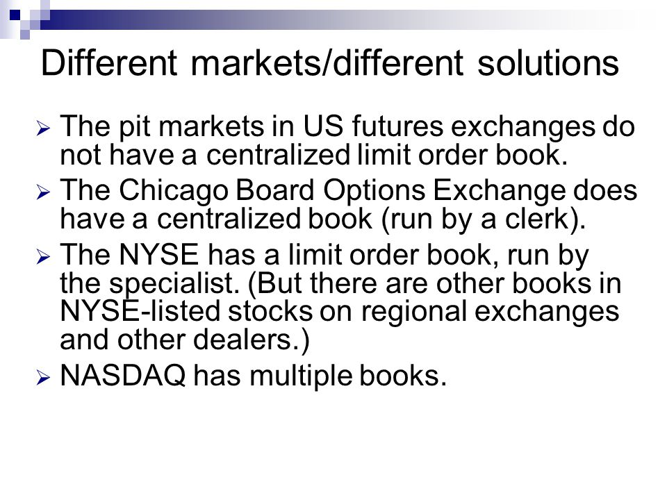 Different markets/different solutions