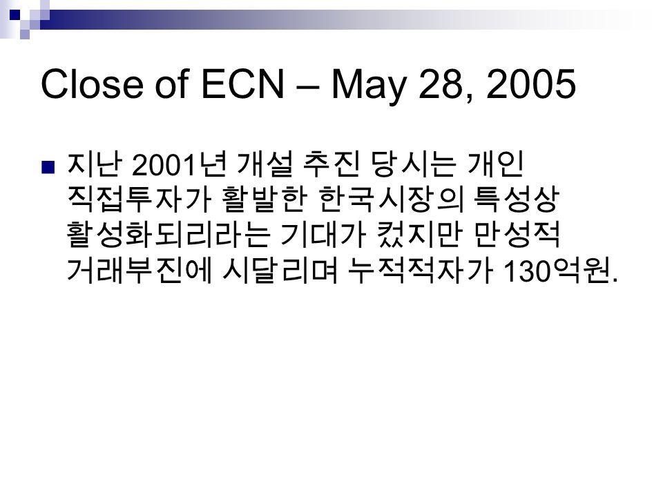 Close of ECN – May 28, 2005 지난 2001년 개설 추진 당시는 개인 직접투자가 활발한 한국시장의 특성상 활성화되리라는 기대가 컸지만 만성적 거래부진에 시달리며 누적적자가 130억원.