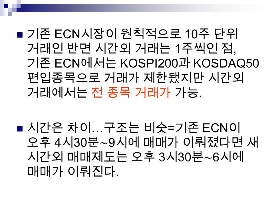 기존 ECN시장이 원칙적으로 10주 단위 거래인 반면 시간외 거래는 1주씩인 점, 기존 ECN에서는 KOSPI200과 KOSDAQ50 편입종목으로 거래가 제한됐지만 시간외 거래에서는 전 종목 거래가 가능.