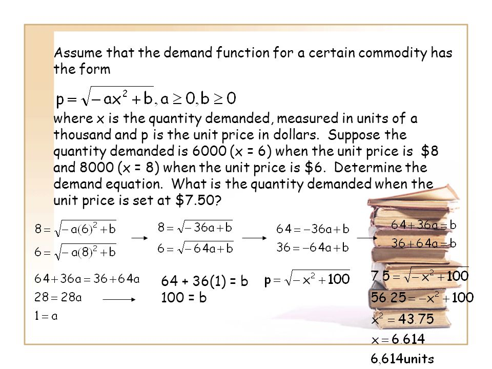 Assume that the demand function for a certain commodity has the form