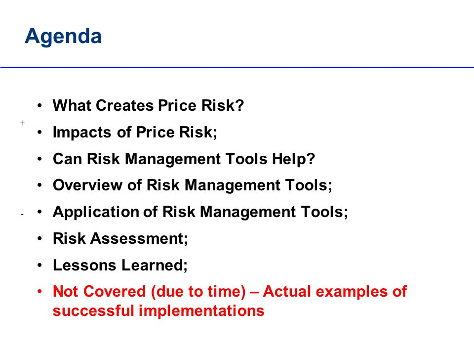 Agenda What Creates Price Risk Impacts of Price Risk;