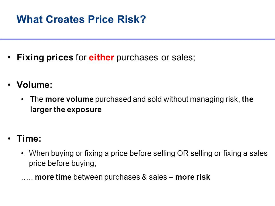 What Creates Price Risk