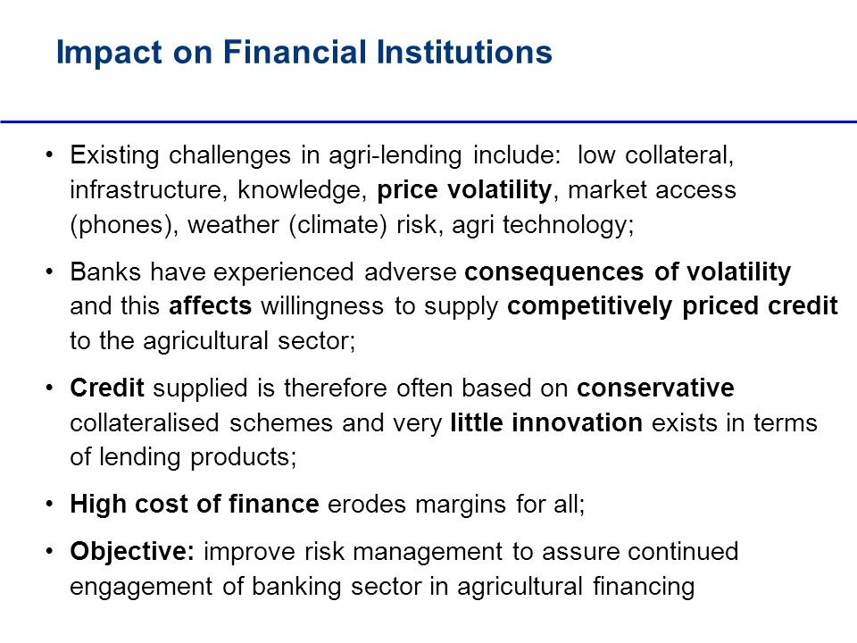 impact of agricultural finance on the
