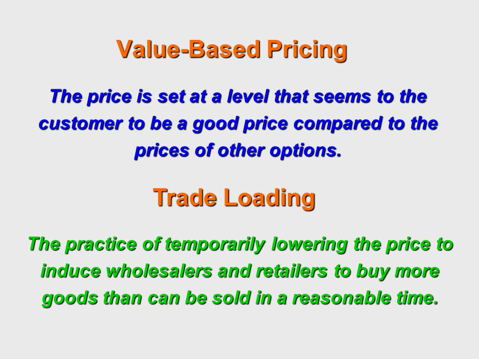 Value-Based Pricing Trade Loading