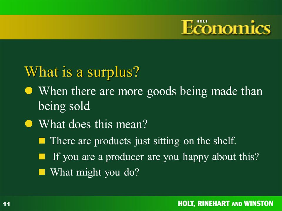 What is a surplus When there are more goods being made than being sold. What does this mean There are products just sitting on the shelf.