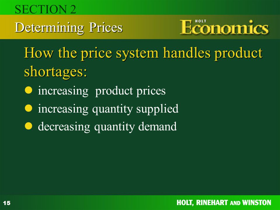 How the price system handles product shortages: