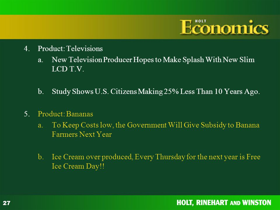 4. Product: Televisions a. New Television Producer Hopes to Make Splash With New Slim LCD T.V.