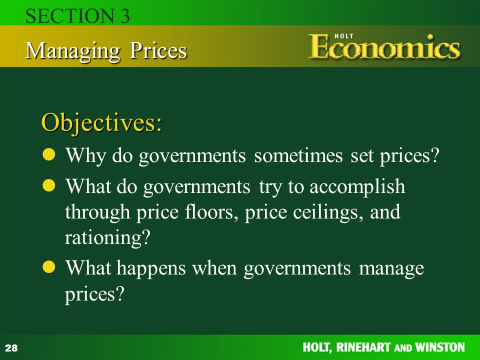 Objectives: Managing Prices SECTION 3