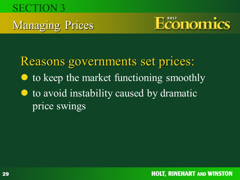 Reasons governments set prices: