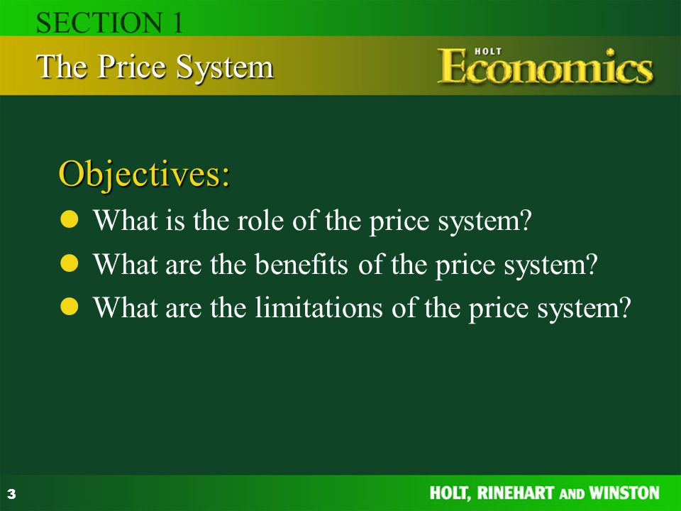 Objectives: The Price System SECTION 1