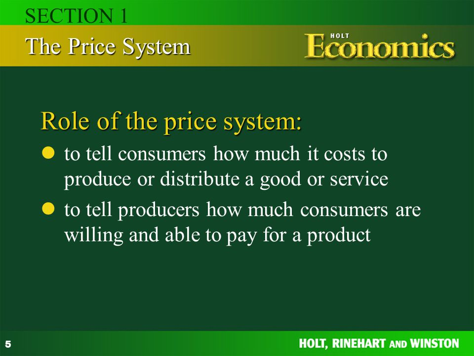 Role of the price system: