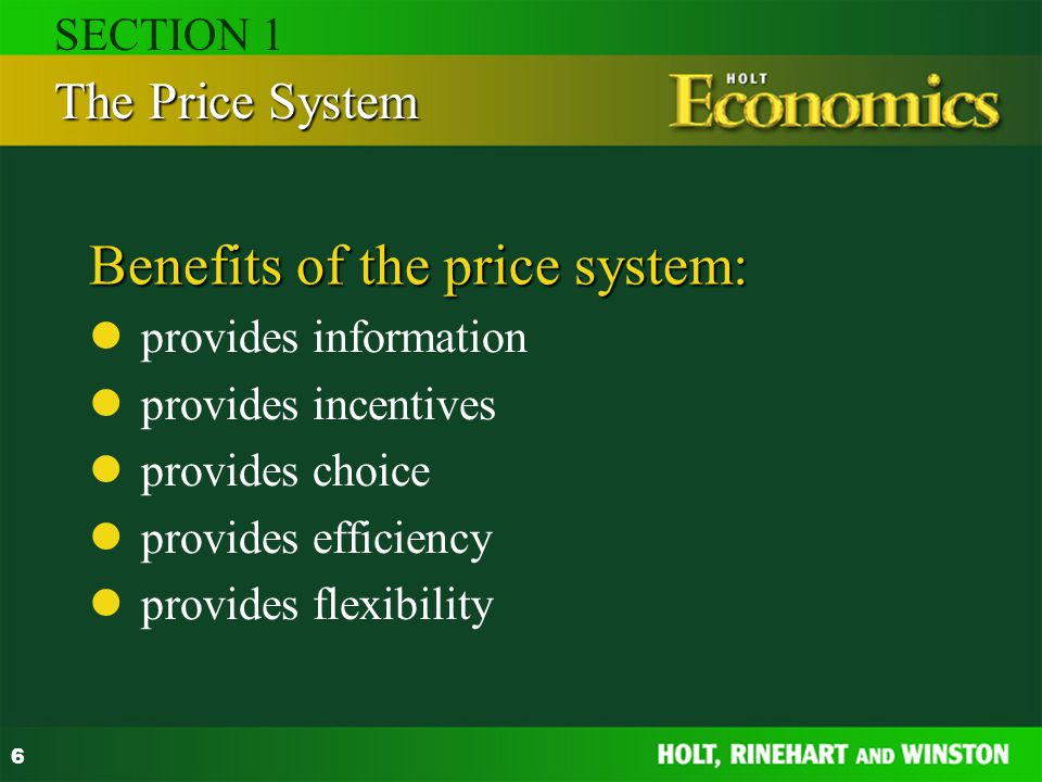 Benefits of the price system: