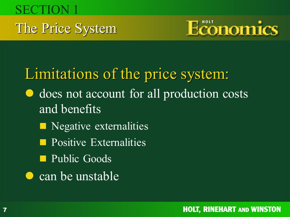 Limitations of the price system: