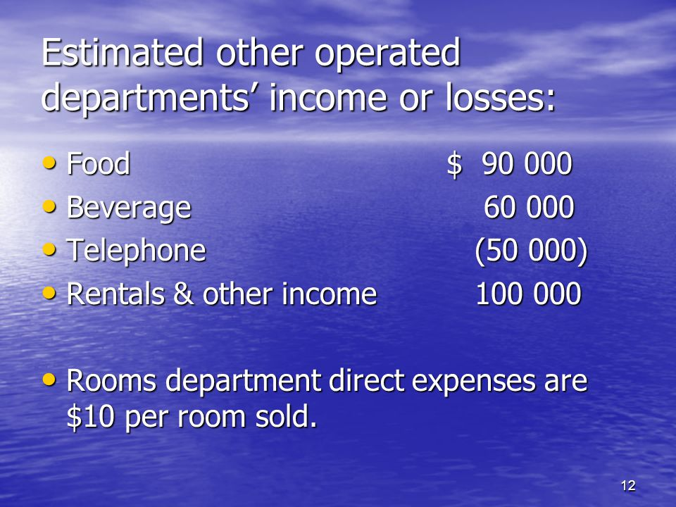 Estimated other operated departments' income or losses: