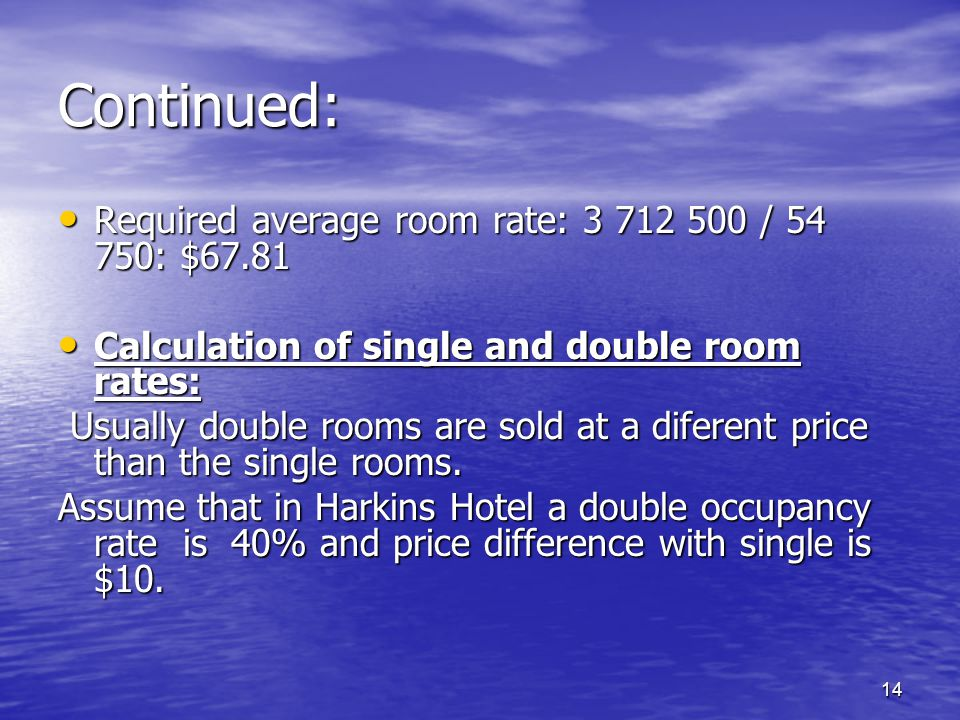 Continued: Required average room rate: / : $67.81