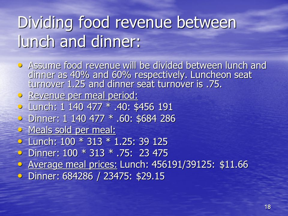 Dividing food revenue between lunch and dinner: