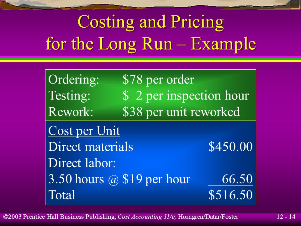 Costing and Pricing for the Long Run – Example