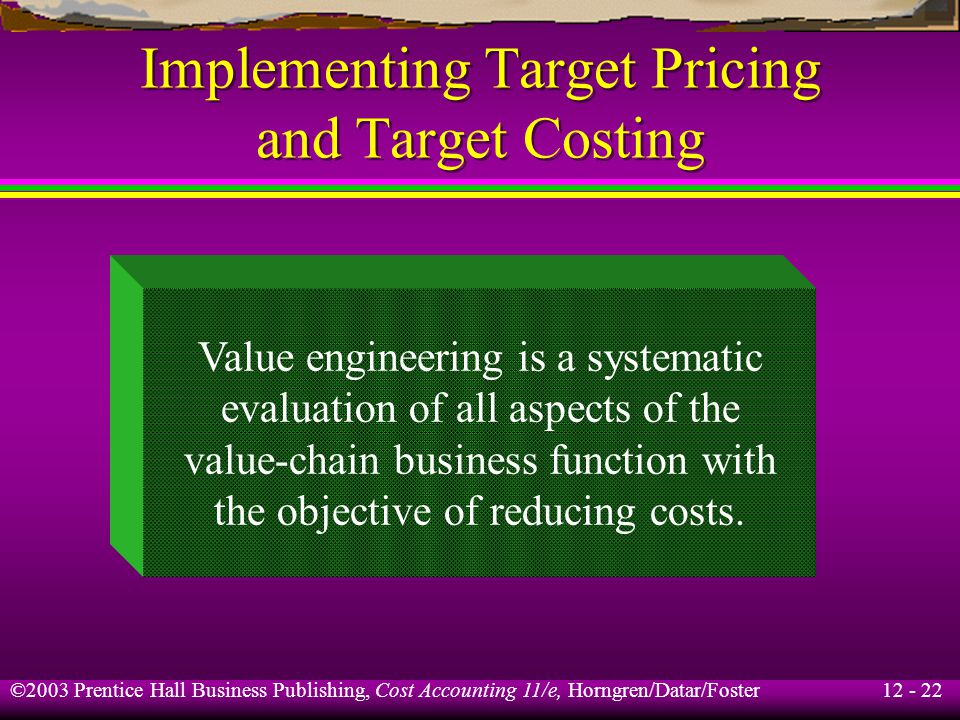 Implementing Target Pricing and Target Costing