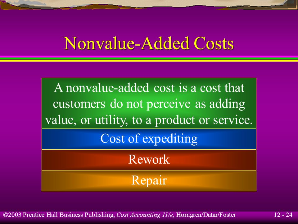 Nonvalue-Added Costs A nonvalue-added cost is a cost that