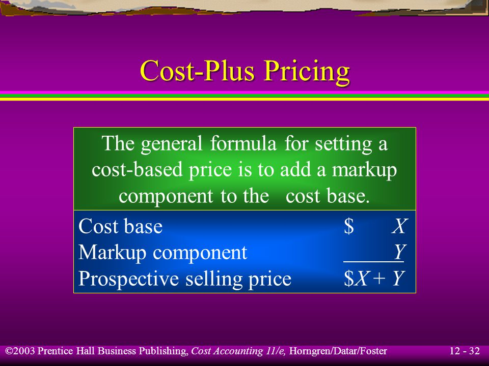 Cost-Plus Pricing The general formula for setting a