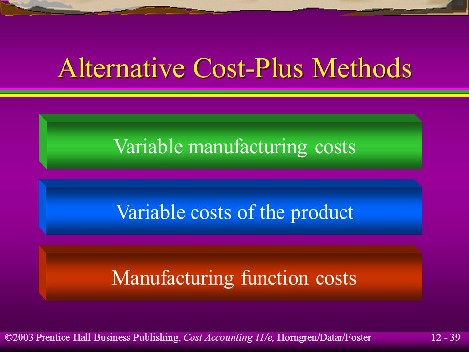 Alternative Cost-Plus Methods