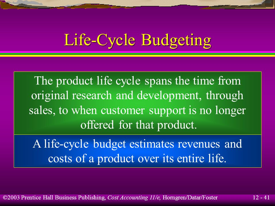 Life-Cycle Budgeting The product life cycle spans the time from