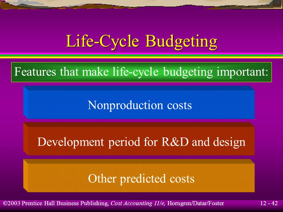 Life-Cycle Budgeting Features that make life-cycle budgeting important: Nonproduction costs. Development period for R&D and design.