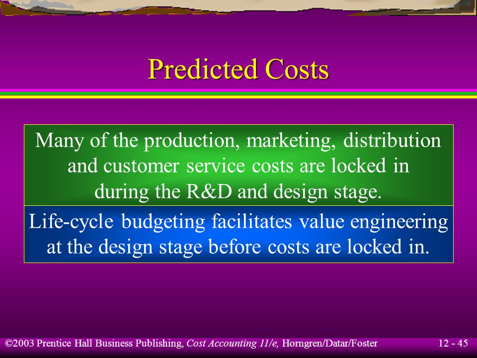 Predicted Costs Many of the production, marketing, distribution
