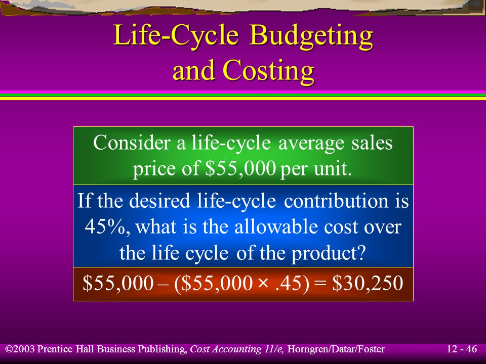 Life-Cycle Budgeting and Costing