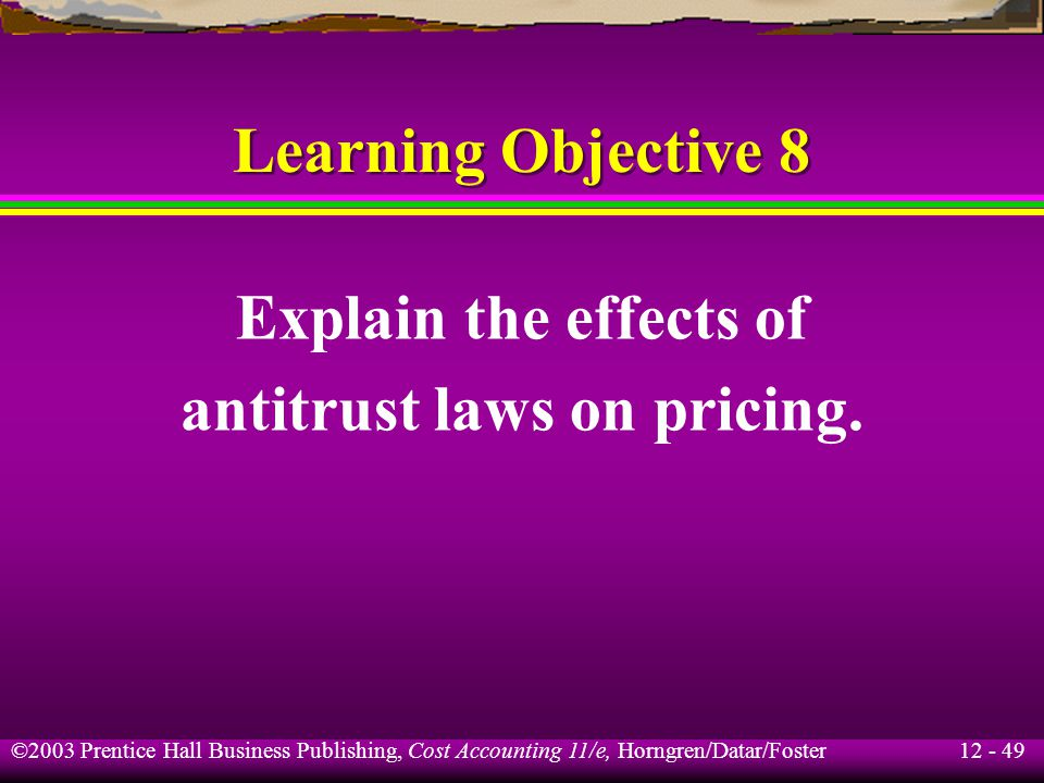 antitrust laws on pricing.