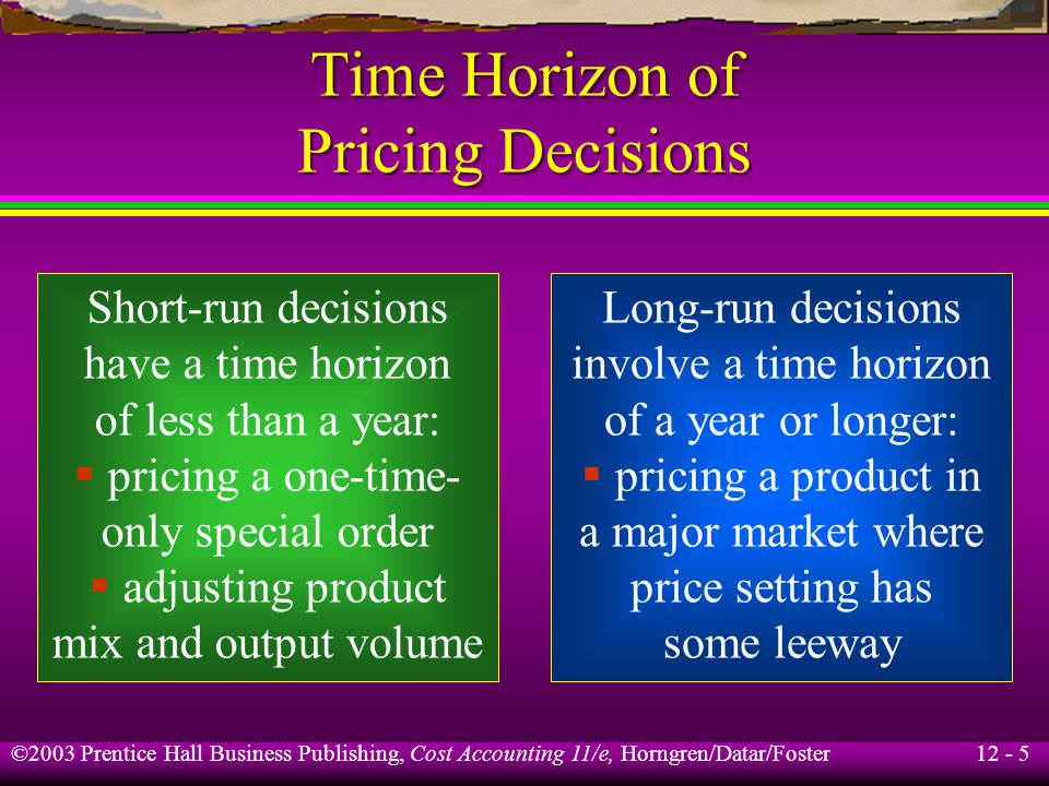 Time Horizon of Pricing Decisions