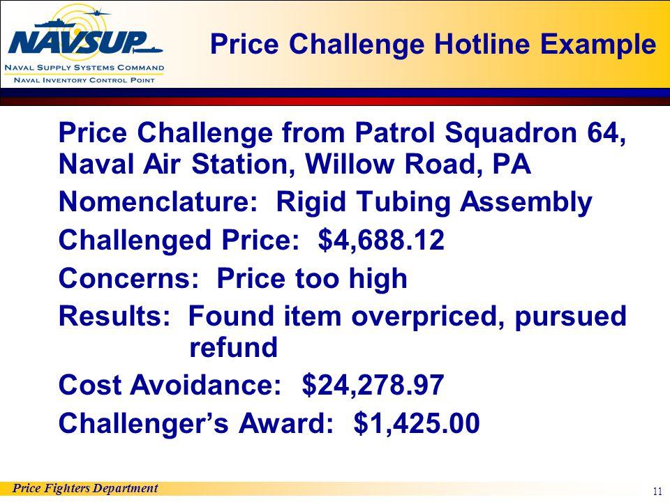 Price Challenge Hotline Example