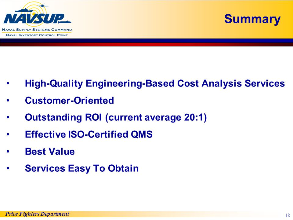 Summary High-Quality Engineering-Based Cost Analysis Services