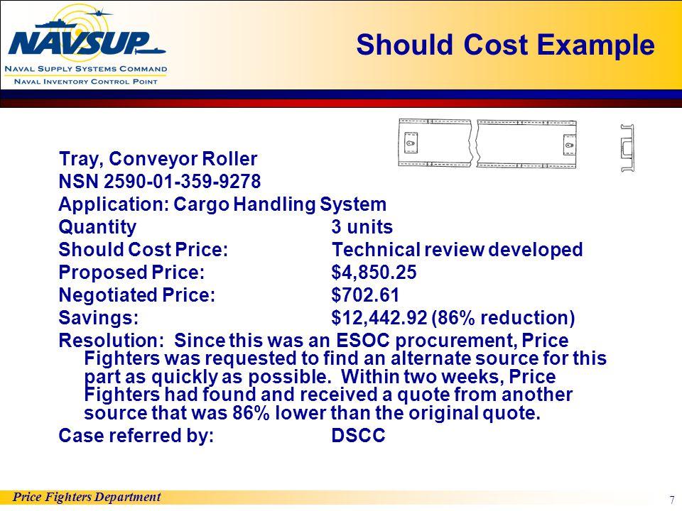 Should Cost Example Tray, Conveyor Roller NSN 2590-01-359-9278