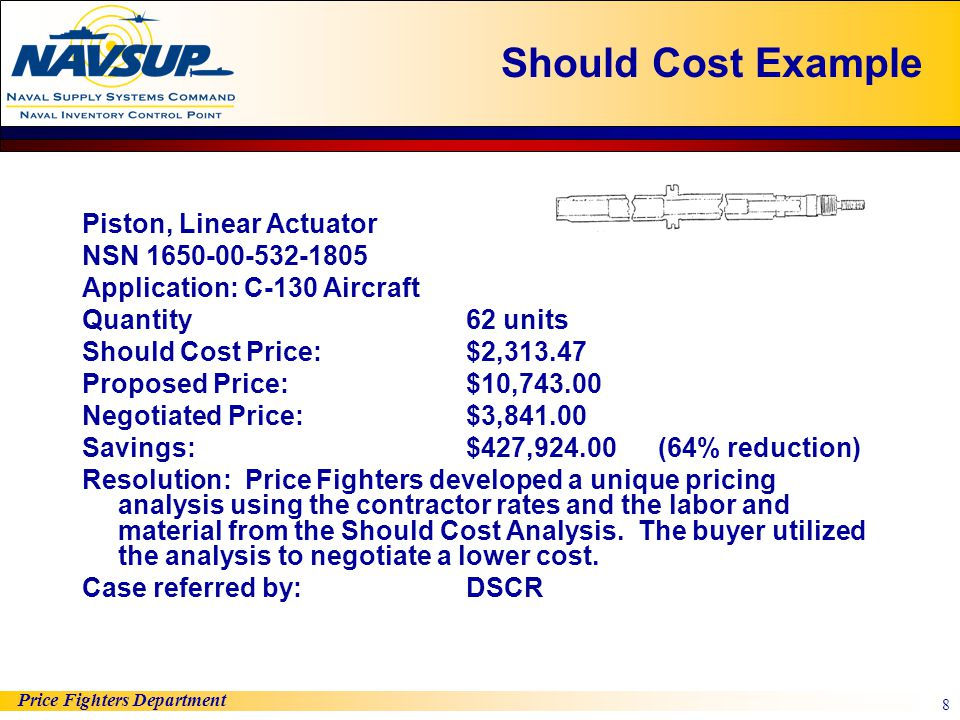 Should Cost Example Piston, Linear Actuator NSN 1650-00-532-1805
