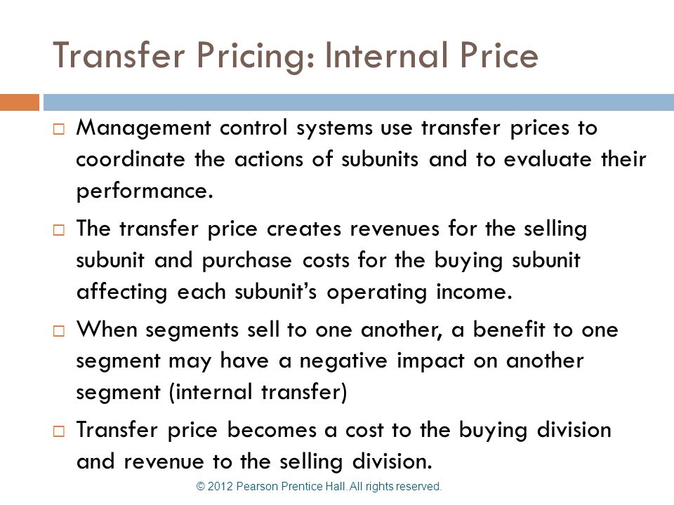 Transfer Pricing: Internal Price