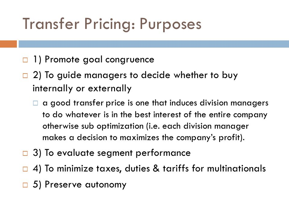 Transfer Pricing: Purposes