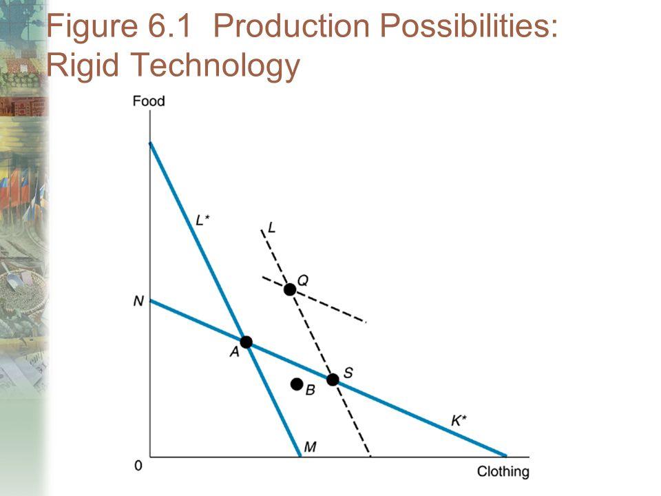 Figure 6.1 Production Possibilities: Rigid Technology