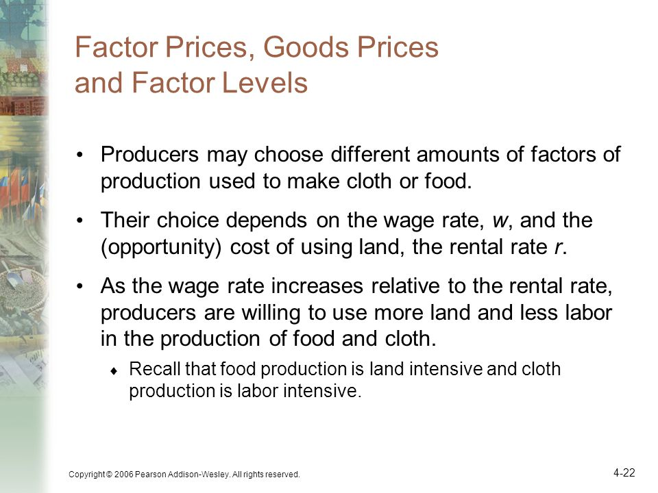 Factor Prices, Goods Prices and Factor Levels