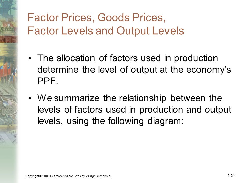 Factor Prices, Goods Prices, Factor Levels and Output Levels