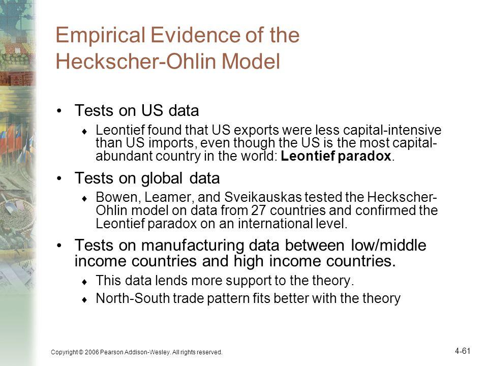 Empirical Evidence of the Heckscher-Ohlin Model