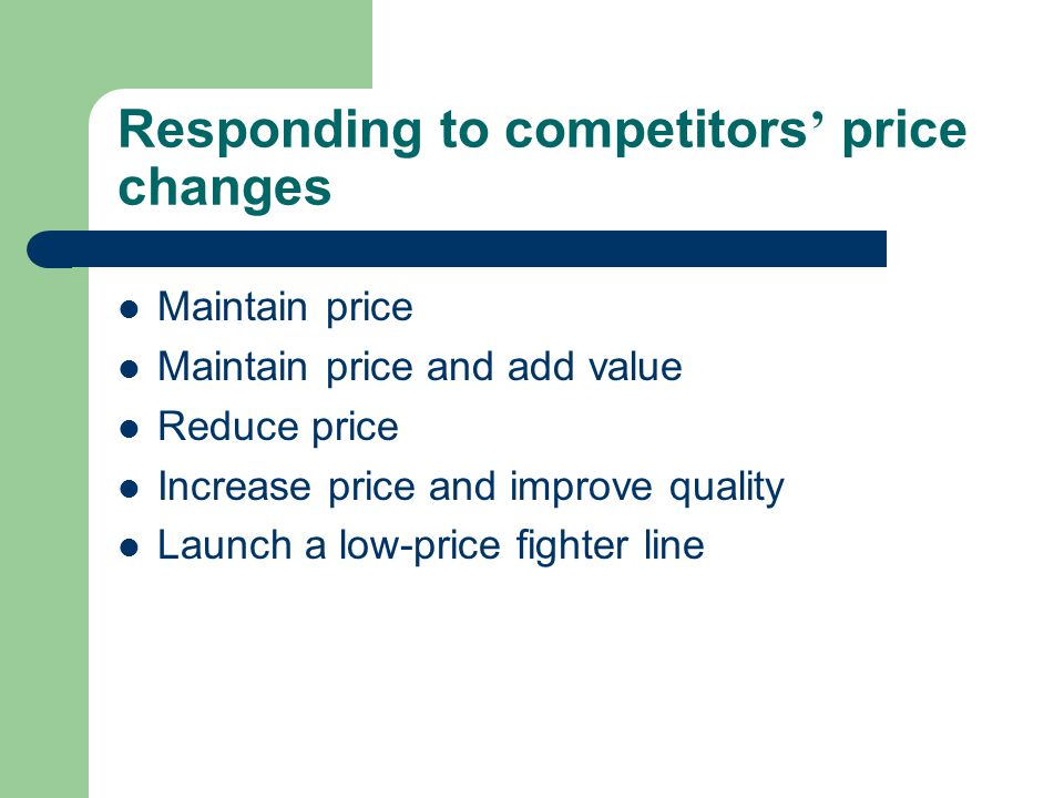 Responding to competitors' price changes
