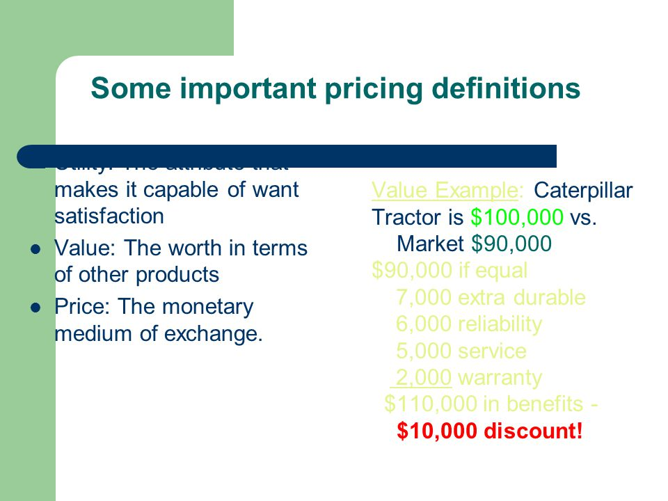 Some important pricing definitions