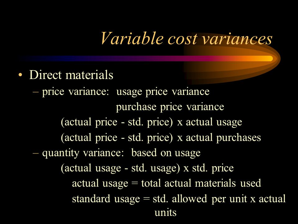 Variable cost variances