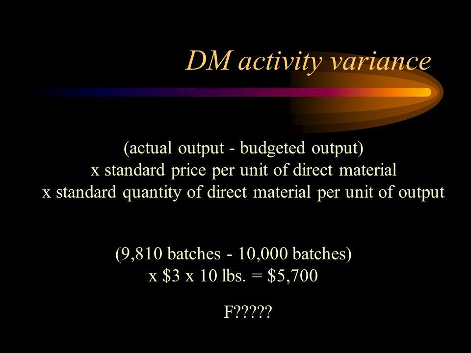 (9,810 batches - 10,000 batches) x $3 x 10 lbs. = $5,700