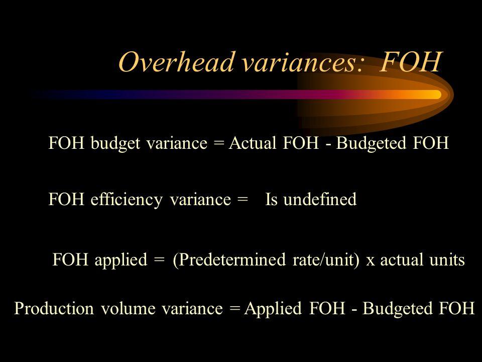 Overhead variances: FOH