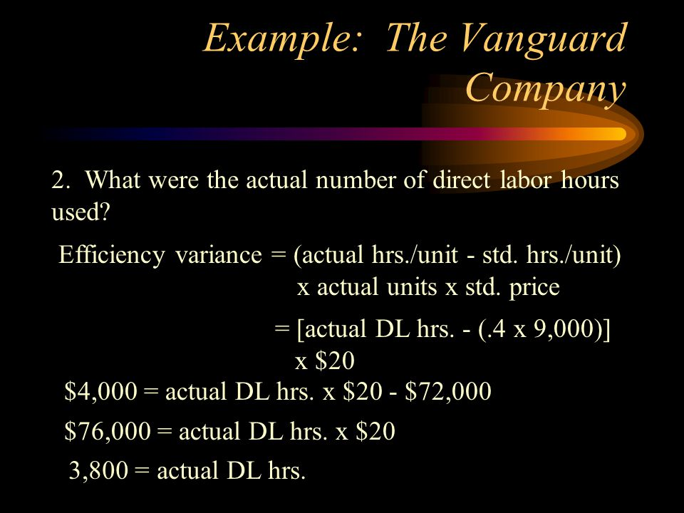 Example: The Vanguard Company