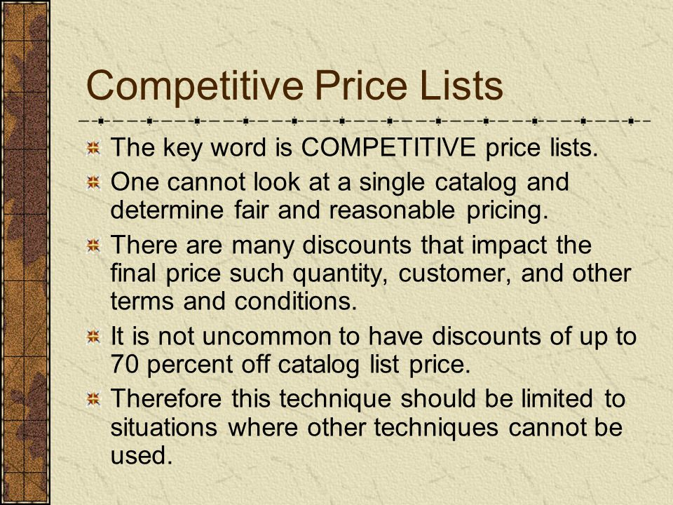 Competitive Price Lists