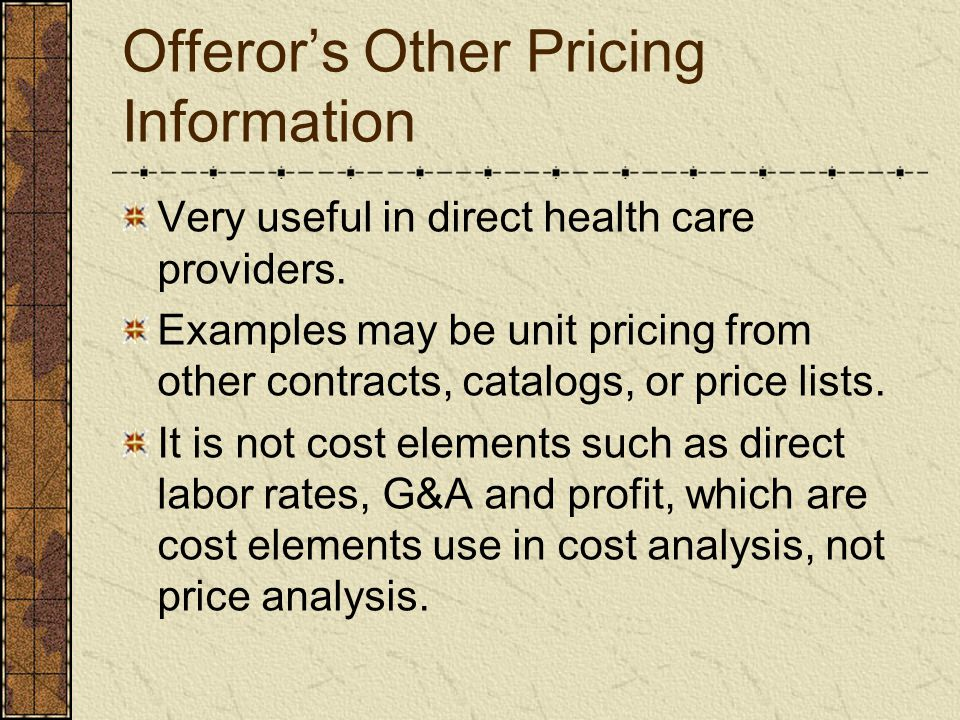 Offeror's Other Pricing Information